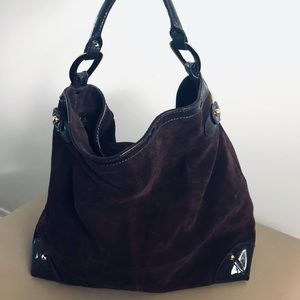 Bebe  Suede Brown Tote Hobo Bag  Boho Style